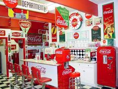 Retro Coca cola Diner I would love to see that!   How to mix my vintage obsession with Coca Cola....hmmm!