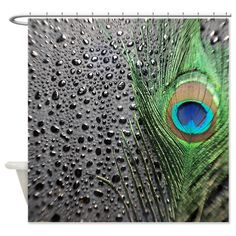 Black Drops Peacock Feather Shower Curtain for the Bathroom. The black background with drops makes a unique shower curtain. The peacock bird feather has vibrant blue and green colors. Peacock Images, Peacock Pictures, Peacock Pics, Custom Shower Curtains, Bathroom Shower Curtains, Fabric Shower Curtains, Peacock Shower Curtain, Peacock Bathroom, Peacock Decor