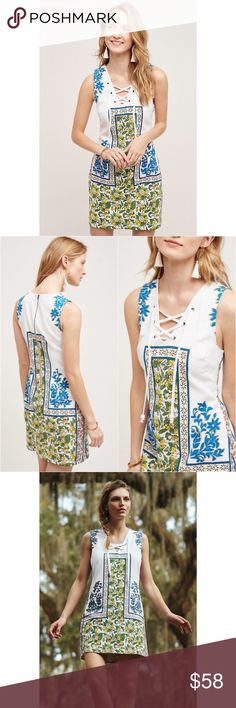 Plenty by Tracy Reese dress Tybee Shift by Plenty by Tracy Reese. Woven cotton and spandex with polyester and spandex lining. Slim shift silhouette. Lace-up detail. Back zip. Size S. In excellent condition with no signs of wear. Anthropologie Dresses