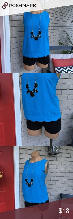 Blue scallop hem sleeveless top Very sweet blue top with scalloped hem and exposed zipper in back. Precious! Monteau Tops