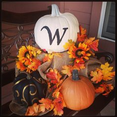 momogram and elegant painted pumpkins. Love them!!! This would be cool if the monogram was done with glow in the dark paint.