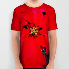 Poinsettia all-over print shirt, floral Christmas, red, green shirt for gardener, botanical nature photograph, T shirt, sublimation shirt by RVJamesDesigns on Etsy