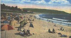 Old Postcard from the Redondo Beach pier looking towards Palos Verdes California.