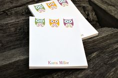 Personalized Notepads / Personalized Owl Notepads /Personalized Notebook / Personalized Note Pads/ Set of Notepads /  Set of 2 Owls Design by itsybitsypaper on Etsy https://www.etsy.com/listing/114527296/personalized-notepads-personalized-owl