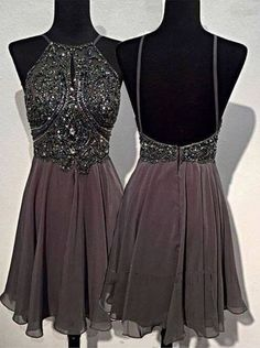 Buy A-line Round Neck Chiffon Beaded Short Grey Backless Prom Homecoming Dress Homecoming Dresses under US$ 129.99 only in SimpleDress.