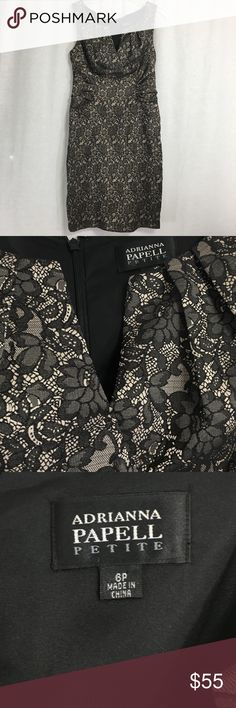 Adrianna Papell Black Lace Sleeveless Dress Gorgeous black lace floral knee length dress. Size 6 petite and in excellent condition. Adrianna Papell Dresses Midi