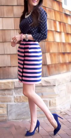 Pink + Blue Nautical Anchor Blouse with Bow Heels <3
