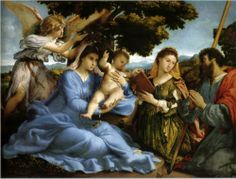 Madonna and St. Catherine of Alexandria, St. James the Greater and an angel - Lorenzo Lotto