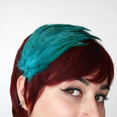 Items similar to Feathered fascinator teal with black rhinestones on Etsy Feathered Hairstyles, Cool Hairstyles, Fiery Red, News Studio, Black Rhinestone, Wedding Veil, Leather Satchel, Hair Pieces, My Hair