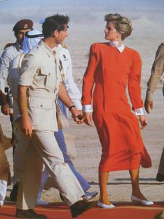 1986-11-15 Diana and Charles visit the desert in Doha, Qatar, where they are entertained to an afternoon of camel racing, falconry and bedouin dancing