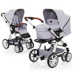 Kombi-Kinderwagen Turbo 6 -von ABC Design in Graphite Grey - grauer Kinderwagen ab Geburt für Dein Baby mit Lederapplikationen