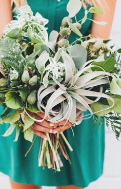 #air-plant  Photography: First Mate Photo - firstmatephoto.com/  Read More: http://www.stylemepretty.com/2014/11/07/shades-of-green-wedding-inspiration/