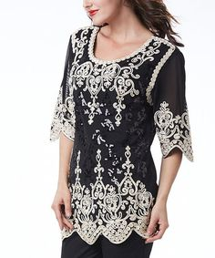 Another great find on #zulily! Black & Gold Lace Tunic #zulilyfinds