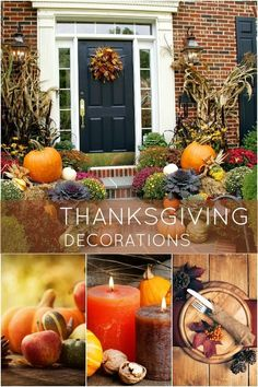 6 easy thanksgiving decor table how to candles centerpiece fall leaves pumpkins squashes dinin table front door projects last minute diy ide...