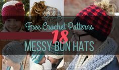 23 Free Messy Bun Hat Crochet Patterns - Make Your Own Ponytail Beanie in sizes from toddler to adult. A winter hat for messy mom buns - keep warm/look cool Tunisian Crochet Free, Free Crochet, Crochet Hats, Crochet Headbands, Scarf Crochet, Knit Hats, Crochet Braids, Crochet Fish, Easy Crochet