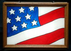American Flag Window Art faux stain glass painted sun catcher America United States patriotic patriotism July 4th Memorial Day banner stars and stripes Old Glory military veteran vets freedom gift decoration decor