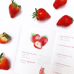 Bullet Journal Weekly Layout with Strawberries! #bujo #bulletjournal #strawberries #summer