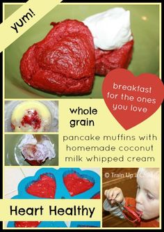 Yummy heart healthy whole grain pancake muffins with coconut milk whipped cream - delicious!
