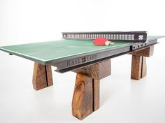 If you've been looking for that one man cave piece that will stand out from the rest and wow your friends, this is it. Click-Clack Table Tennis Table is a custom ping pong table created by Robert Hendrick of Railyard Studios. Pool Table, Ping Pong Table, Custom Furniture, Furniture Design, Pipe Furniture, Furniture Vintage, Ping Pong Paddles, Steel Beams, Industrial Furniture