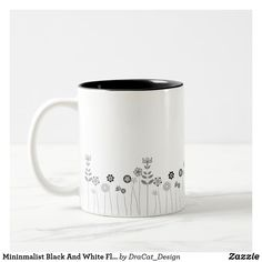 Shop Mininmalist Black And White Floral Pattern Two-Tone Coffee Mug created by DraCat_Design. Pottery Painting, Ceramic Painting, Pottery Art, Ceramic Art, Coffee Mug Quotes, Coffee Mugs, Tassen Design, Bottle Chandelier, Diy Mugs