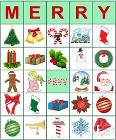 Plan a holiday party activity using printable BINGO cards for Christmas. Both the young and the young-at-heart will get a kick out of playing a festive . Christmas Bingo Printable, Christmas Stocking Template, Christmas Bingo Cards, Christmas Board Games, Christmas Party Games, Preschool Christmas, Christmas Activities, Christmas Crafts For Kids, Christmas Projects