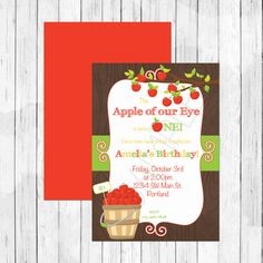 Items Similar To Apple Of My Eye Theme Party Personalized Birthday Invitation Or Evite