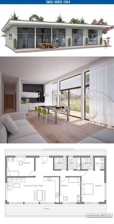 Small home plan. Suits best to wide lot. Master bedroom with separate bathroom. Small home design with big windows.