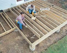 Combine veneer stone with a simple deck to create a striking, durable outdoor living room. Deck Building Plans, Stone Deck, Laying Decking, Cedar Deck, Deck Construction, House Deck, Camper Renovation, Diy Deck, Wooden Decks