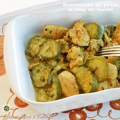 Bocconcini di pollo al curry con zucchine