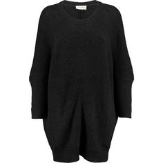 American Vintage - Lubbork Oversized Ribbed-knit Sweater ($118) ❤ liked on Polyvore featuring tops, sweaters, dresses, sweatshirt, black, oversized sweaters, bat sleeve sweater, lightweight sweaters, batwing sleeve tops and bat sleeve tops