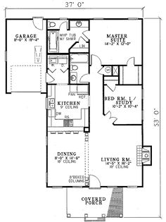 Classical Style House Plan - 2 Beds 2 Baths 1172 Sq/Ft Plan #17-179 Floor Plan - Main Floor Plan - Houseplans.com