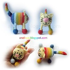 Rainbow Cat amigurumi crochet free pattern - not english, photo tutorial