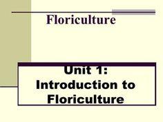 Unit 1: Introduction to Floriculture>