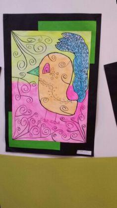 Water coloured black line detailed birds by grade six. Owls, Birds, Watercolor, Friends, Black, Art, Craft Art, Watercolour, Amigos