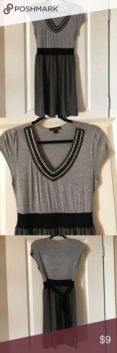 "Casual cotton dress with beaded neckline Total length 34"". Good condition. Cap sleeve. A bit of stretch in the material. Black sash tie at back. Smoke free home. Dresses Midi"