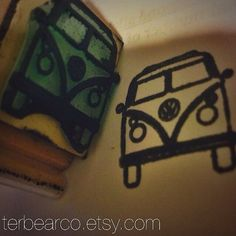 VW volkswagen bus front end rubber stamp by terbearco on Etsy, $7.99