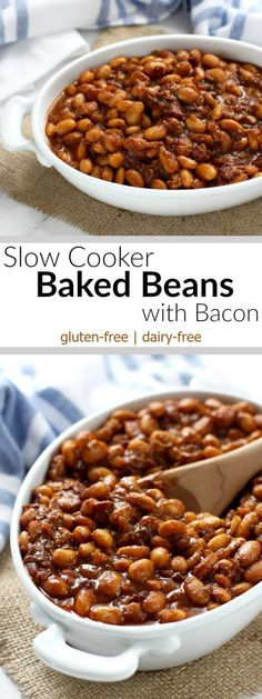 Slow Cooker Baked Beans with Bacon. I think I would try different beans or more molasses and definitely more bacon next time! Crockpot Baked Beans, Baked Beans With Bacon, Homemade Baked Beans, Baked Bean Recipes, Bacon Recipes, Roast Recipes, Gluten Free Baked Beans, Healthy Baked Beans, Bacon Food