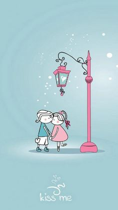 ↑↑TAP AND GET THE FREE APP! Quotes Kiss Me Turquoise Art Cute Drawing Love Kissing Lovers under Streetlight Feelings Date HD iPhone 6 plus Wallpaper