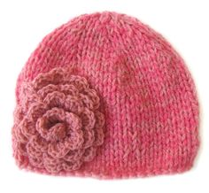 KSS Tangerine Beanie with a Flower 18-19 2-7 years by kssmade