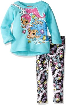 Nickelodeon Little Girls' Toddler Shimmer and Shine Legging Set with Fleece Top, Mint, 2T. Soft fabric. Easy to remove on and off child. Easy to wash. Great outfit for every day play. Adorable graphic design.