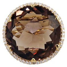 "Mike Saatji """"Perugina"""" Smoky Quartz Diamond Ring ($2,450) ❤ liked on Polyvore featuring jewelry, rings, diamond crisscross ring, 1920s engagement rings, diamond jewellery, smoky quartz ring and diamond jewelry"
