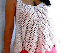 Flared crochet tank top- Babydoll loose top - Crochet women top- white crochet  top- Fashion,elegant, sexy white crochet top- Boho top