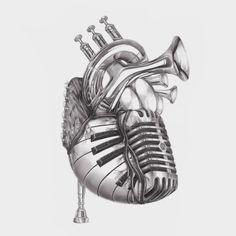 Heart of music from jake weidmann artist and master penman drawings of music, art of Musik Illustration, Heart Illustration, Mädchen Tattoo, Art Tumblr, Music Drawings, Crazy Drawings, Music Tattoos, Music Heart Tattoo, Car Tattoos