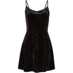 Black Velvet Strappy Swing Dress ($15) ❤ liked on Polyvore featuring dresses, vestidos, short dresses, black, velvet cocktail dress, mini dress, evening wear dresses and loose dress