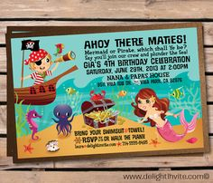 Mermaid and Pirate Birthday Invitation & Envelope on Etsy, $2.87 AUD