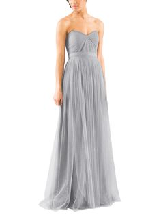 Stylist NotesEveryone's favorite convertible style and feels amazing on. Keep some safety pins handy so you can get creative with the straps. -CarolynDescriptionJenny Yoo AnnabelleFull length bridesmaid dressSweetheart necklineNatural waistConvertible Style with long tulle panelsSoft TulleClick here for more ways to tie the Annabelle Convertible