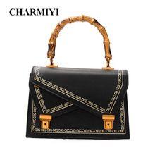 CHARMIYI Autumn Women Vintage Bamboo Tote Bag Famous Designer Brand PU Leather  Handbag Ladies Casual Shoulder 12f0a47caee37