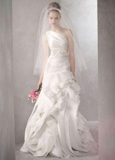 vera wang farrah dress colors | White by Vera Wang VW351010 inspired one shoulder fit and flare bridal ...