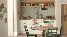 Pretty colours and ideas... jasmine white cupboard paint, natural hessian walls, love the painted chairs - all Dulux