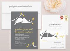 Love Birds Modern Wedding Invitation and RSVP by MalloryHopeDesign